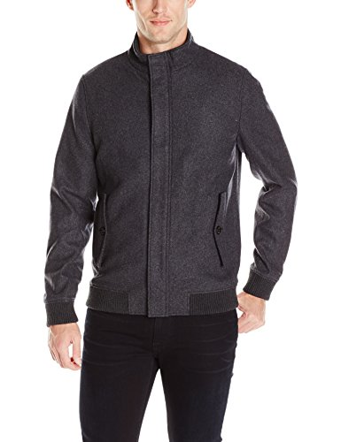 Ted Baker Men's Adam Wool Bomber Jacket, Charcoal, 4/Large