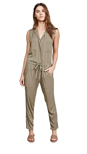 Enza Costa Women's Sleeveless Jumpsuit, Military, 0