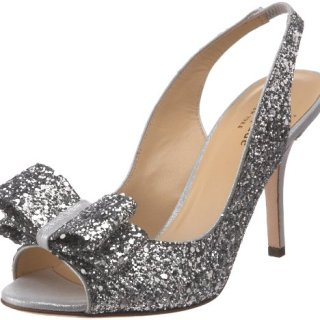 Kate Spade New York Women's Charm Slingback Pump, Silver Glitter, 7.5 M US