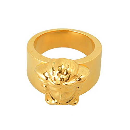 Versace Gold Metal Embellished Unisex Ring Sz 25