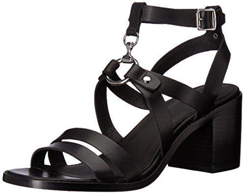 FRYE Women's Bianca Harness Heeled Sandal, Black, 8.5 M US