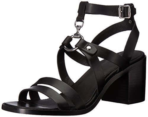 FRYE Women's Bianca Harness Heeled Sandal, Black, 8.5 M US