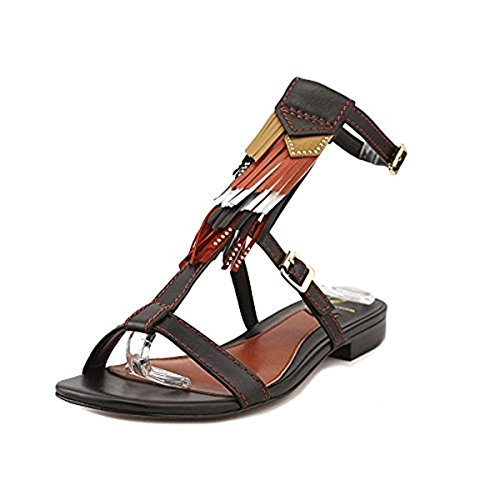 B Brian Atwood Womens Megan Leather Boho T-Strap Sandals Black 6 Medium (B,M)