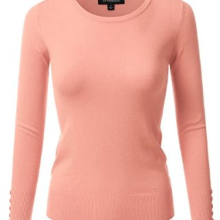 JJ Perfection Women's Stretch Crew Neck Long Sleeve Shirt w/Button Design Pink L