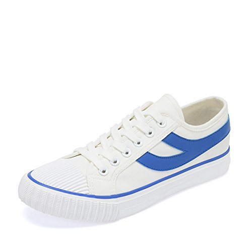 Womens Men Canvas Shoes Lace up Sneakers 2 Colors Available (Blue 39)