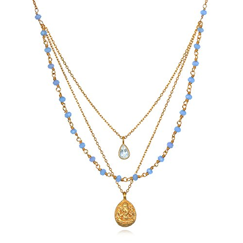 Satya Jewelry Womens Blue Chalcedony Gold Ganesha Pendant Necklace 20-Inch, One Size