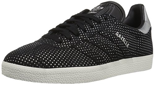 adidas Originals Women's Gazelle W Sneaker, Black/Black/Silver Metallic, 6 M US