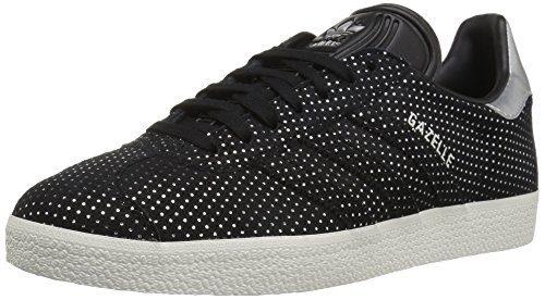 adidas Originals Women's Gazelle W Sneaker, Black/Black/Silver Metallic, 6 M US