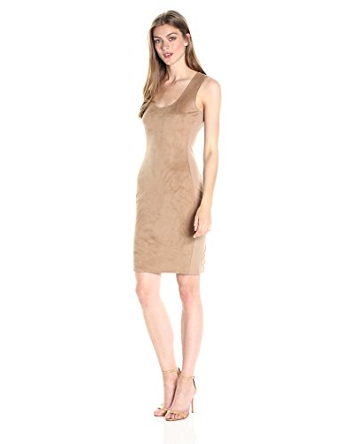 A X Armani Exchange Women's Scoop Neck Sleeveless Suede Above The Knee Dress, Tan, X-Small