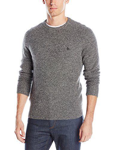 Original Penguin Men's Lambswool Crew Neck Sweater, Dark Shadow, X-Large