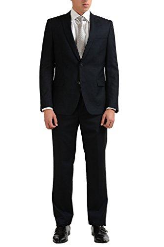 Versace Collection Silk Wool Black Two Button Men's Suit US 38 IT 48;