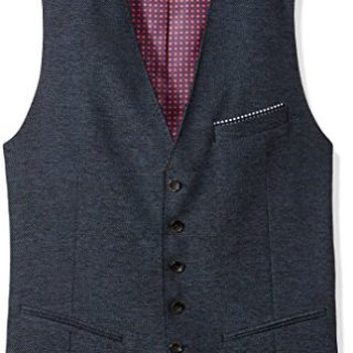 Ted Baker Men's Portwai Modern Slim Fit Semi Plain Waistcoat, Blue, 7