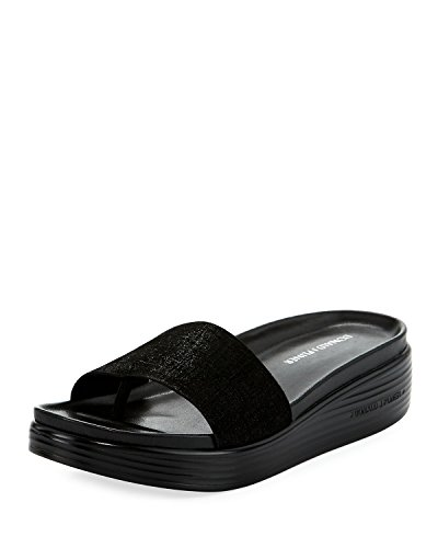 Donald J Pliner Women's Fiji Distressed Metallic Slide Sandal, Black, Sz- 6b / 36eu