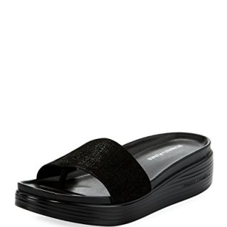 Donald J Pliner Women's Fiji Distressed Metallic Slide Sandal, Black, Sz- 6b / 36eu