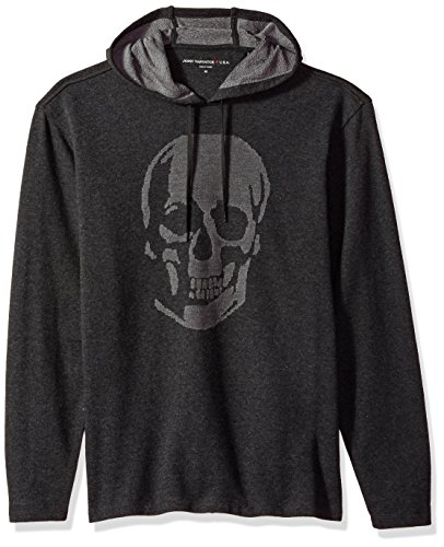 John Varvatos Men's Long Sleeved Pullover Hoody, Charcoal Heather, Large