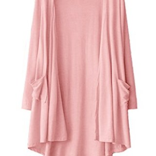TownCat Women's Loose Casual Long Sleeved Open Front Breathable Cardigans with Pocket (Pink, L)