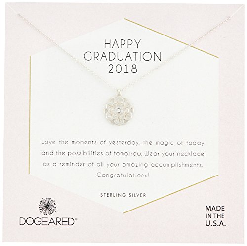Dogeared Womens SS Grad 2018 Chain Necklace, Silver, 16