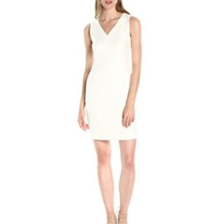 A|X Armani Exchange Women's V Neck Short Sleeved Linen Mini Shift Dress, White, 4