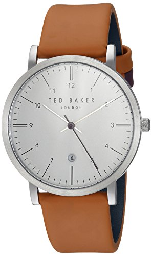 Ted Baker Men's 'SAMUEL' Quartz Stainless Steel and Leather Casual Watch, Color:Silver-Toned
