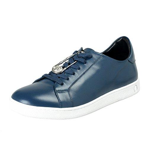 Versace Versus Men's Blue Leather Fashion Sneakers Shoes Sz US 10 IT 43