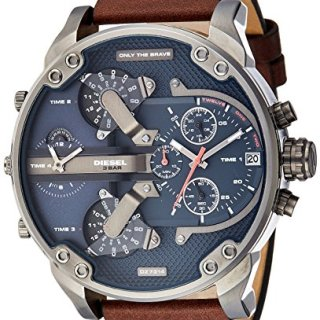 Diesel Men's Mr Daddy 2.0 Quartz Stainless Steel and Leather Chronograph Watch, Color Grey, Brown (Model: DZ7314)
