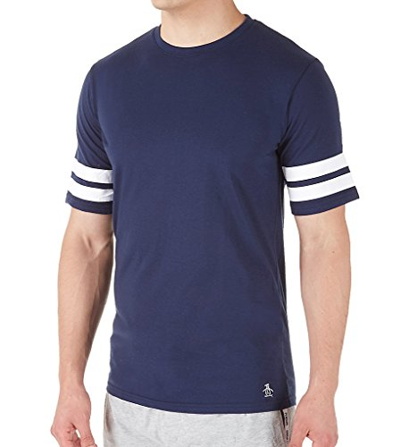Original Penguin Men's Double Stripe Short Sleeve Crew Neck Tee, Blue/Blue/Blue, L