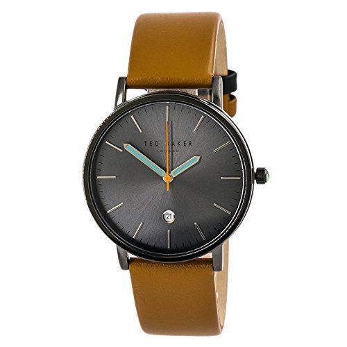 Ted Baker London Men's Black Analog Steel Watch Brown Leather Strap