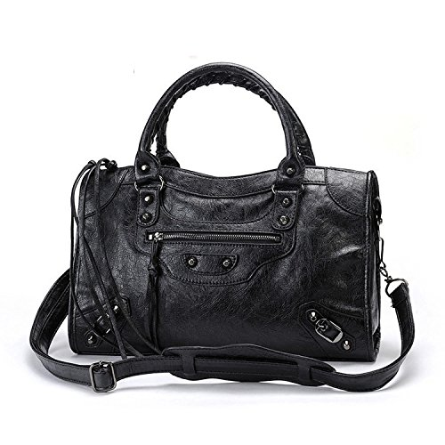 Emio Women Leather Black Studed Shoulder Bag Medium Size 13 Colors (Black)