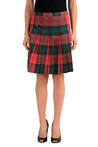 Versace Versus 100% Wool Multi-Color Checkered Women's Pleated Skirt US M IT 42