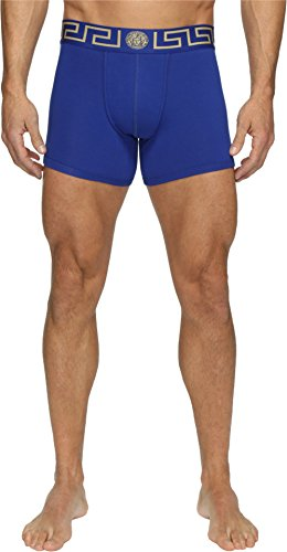 Versace Men's Iconic Low Rise Trunks Blue/Gold Underwear