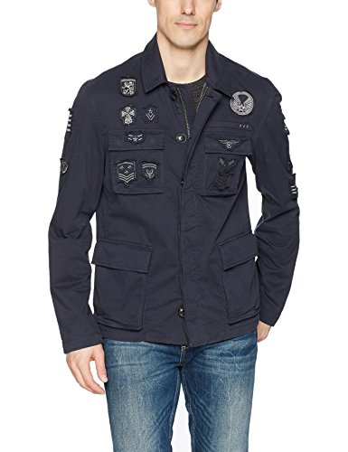John Varvatos Star USA Men's Mid-Length Jacket, Dark Indigo, XX-Large