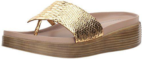Donald J Pliner Women's Slide Sandal, Gold, 8.5 Medium US