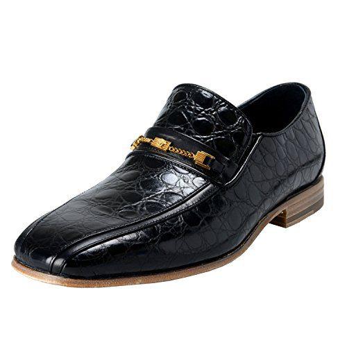 Versace Men's Black Croc Print Leather Loafers Shoes US 10 IT 43;