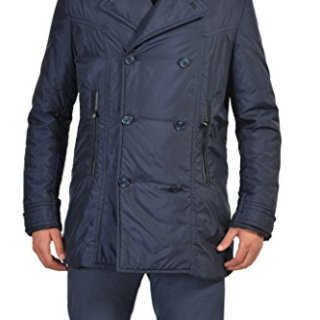 Versace Collection Blue Double Breasted Insulated Coat US XL IT 54;