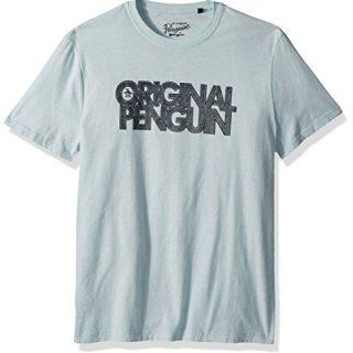 Original Penguin Men's Spliced Op Logo Tee, Pastel Blue, Medium