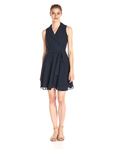 A X Armani Exchange Women's Sleeveless Collared Belted Woven Dress, Navy, 2