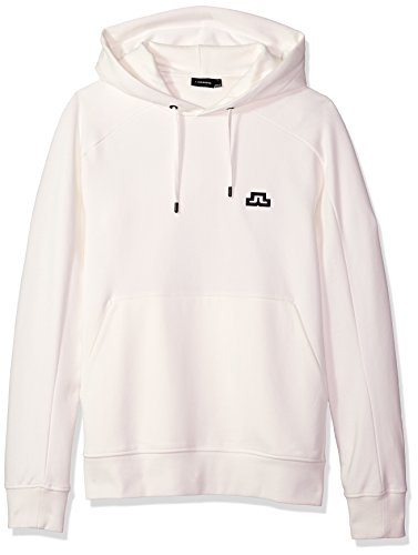 J.Lindeberg Men's Bridge Logo Hoodie, Off White, Large