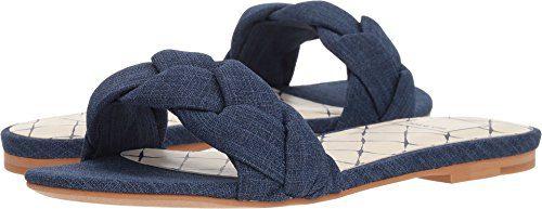 Dolce Vita Women's Kimana Slide Sandal, Indigo Linen, 8.5 M US