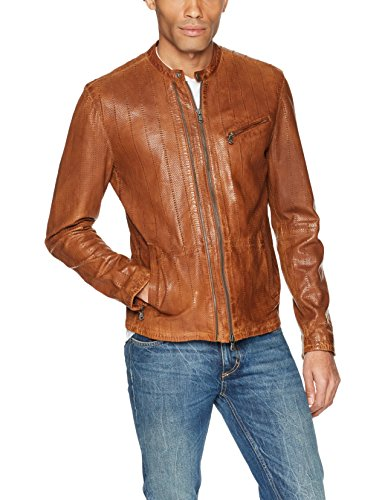 John Varvatos Men's Star USA Leather Racer Jacket, Antique/Brown, X-Small
