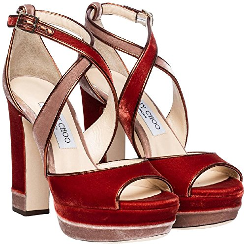 JIMMY CHOO Women's Orange Velvet Sandals with Platform Shoes - Size: 7.5 US