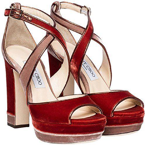 JIMMY CHOO Women's Orange Velvet Sandals with Platform Shoes - Size: 7.5 US