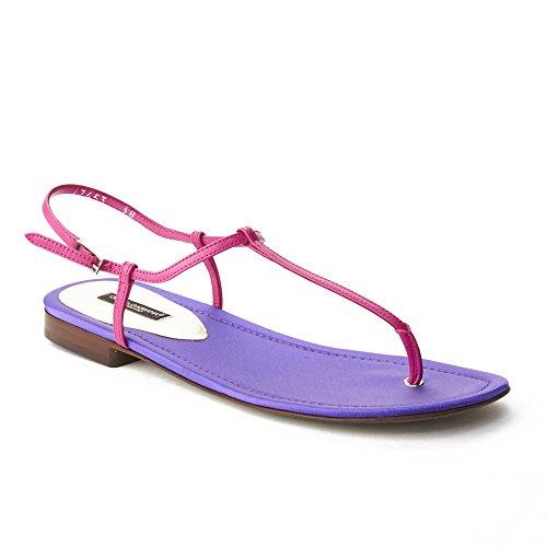 Dolce & Gabbana Women's T-Strap Sandal Shoes Purple Pink