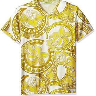 Versace Jeans Men's Gold Printed T-Shirt, Bianco, X-Large