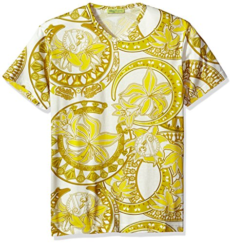 Versace Jeans Men's Gold Printed T-Shirt, Bianco, X-Large