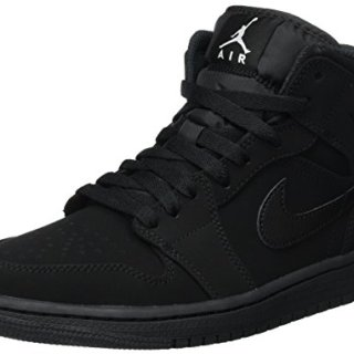 Nike Men's Air Jordan 1 Retro Mid Basketball Shoes Black/White-Black size 10.5 D(M)