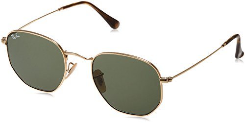 Ray-Ban Unisex Hexagonal Sunglasses - Gold Frame Green Lenses, 51 mm