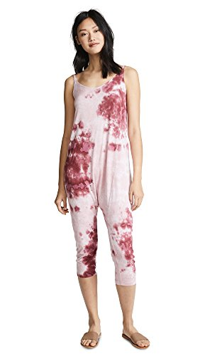 Enza Costa Women's Strappy Drop Rise Jumpsuit, Sangria Pantina, Large