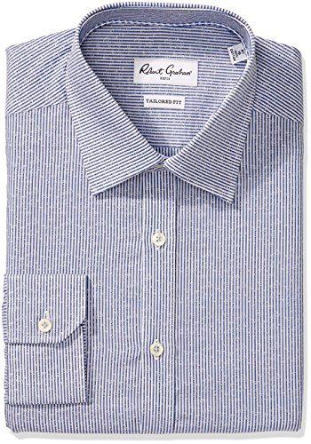 "Robert Graham Men's Slim Fit Jacquard Stripe Dress Shirt, Blue, 16"" Neck 35"" Sleeve"