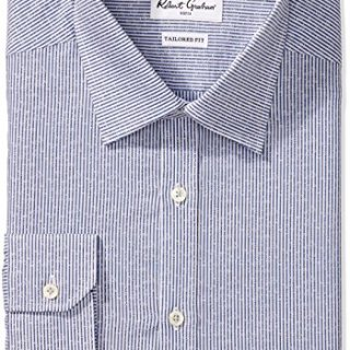 "Robert Graham Men's Slim Fit Jacquard Stripe Dress Shirt, Blue, 16"" Neck 35"" Sleeve"