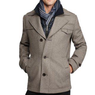 Hugo Boss Boss Orange by Men's Ofanta Wool Jacket Pea Coat-Grey-44